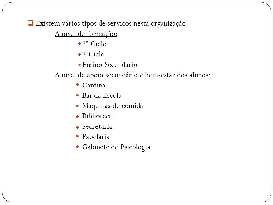 Existem vários tipos de serviços nesta organização: A nível de formação: 2º Ciclo 3ºCiclo Ensino Secundário A nível de apoio secundário e bem-estar do