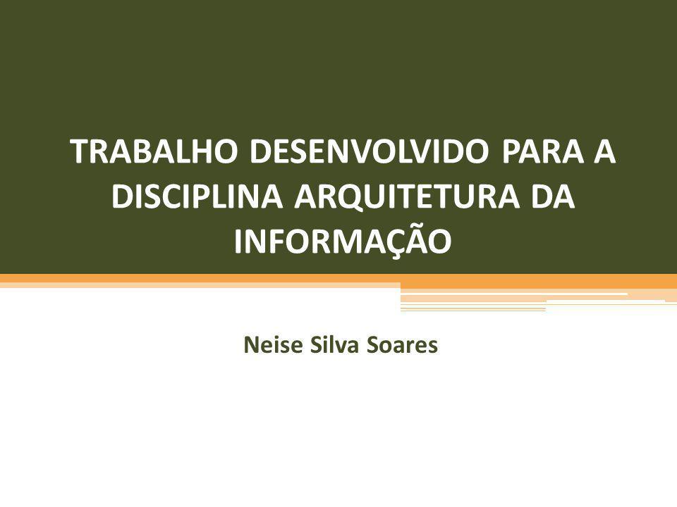 TRABALHO DESENVOLVIDO PARA A DISCIPLINA ARQUITETURA DA INFORMAÇÃO Neise Silva Soares