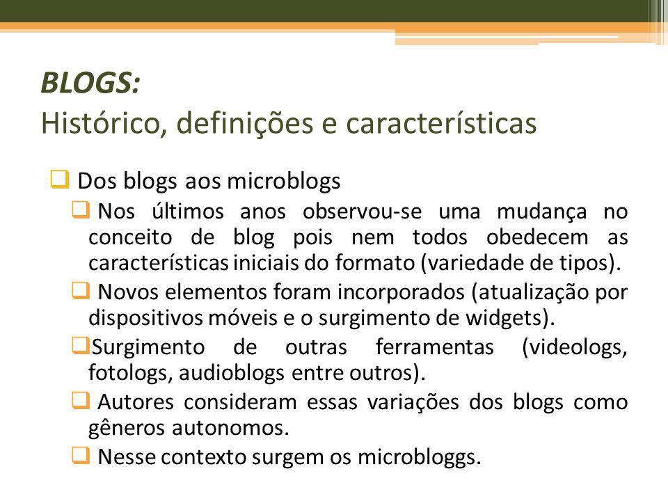 Dos blogs aos microblogs Nos últimos anos observou-se uma mudança no conceito de blog pois nem todos obedecem as características iniciais do formato (