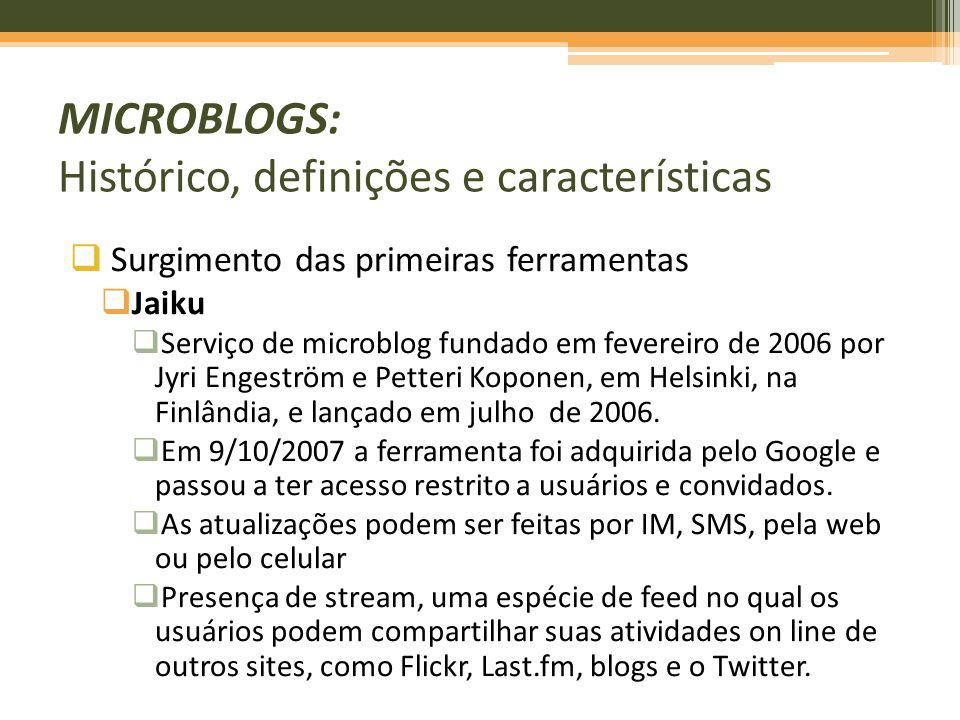 Surgimento das primeiras ferramentas Jaiku Serviço de microblog fundado em fevereiro de 2006 por Jyri Engeström e Petteri Koponen, em Helsinki, na Fin