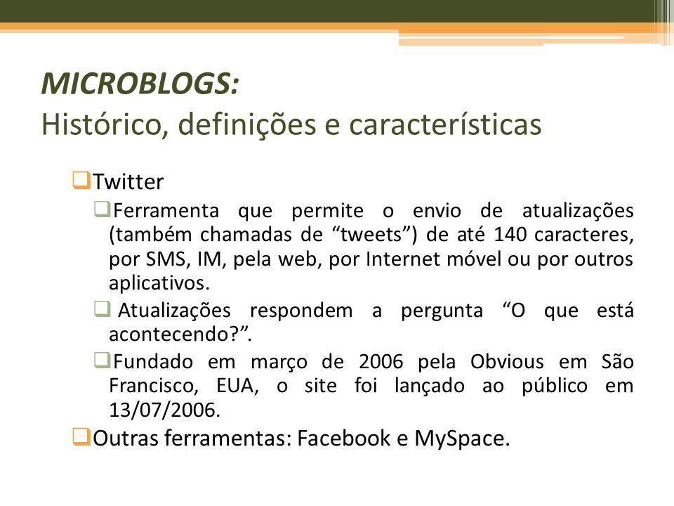Twitter Ferramenta que permite o envio de atualizações (também chamadas de tweets) de até 140 caracteres, por SMS, IM, pela web, por Internet móvel ou