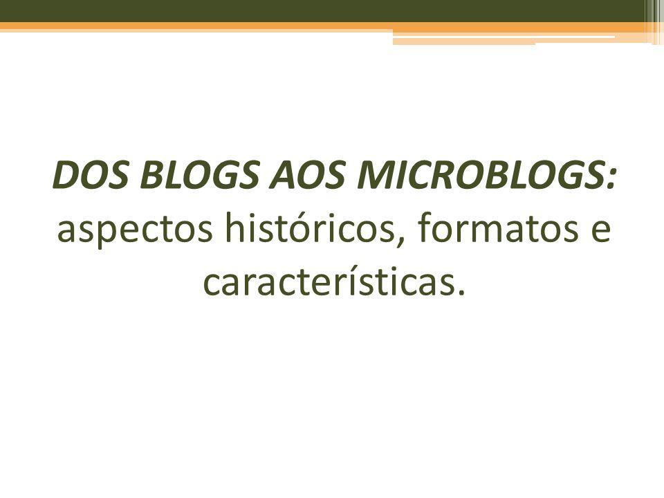 DOS BLOGS AOS MICROBLOGS: ASPECTOS HISTÓRICOS, FORMATOS E CARACTERÍSTICAS * Trabalho apresentado no GT História da Mídia Digital do VI Congresso Nacional da Mídia, realizado entre os dias 13 e 16/05/2008.