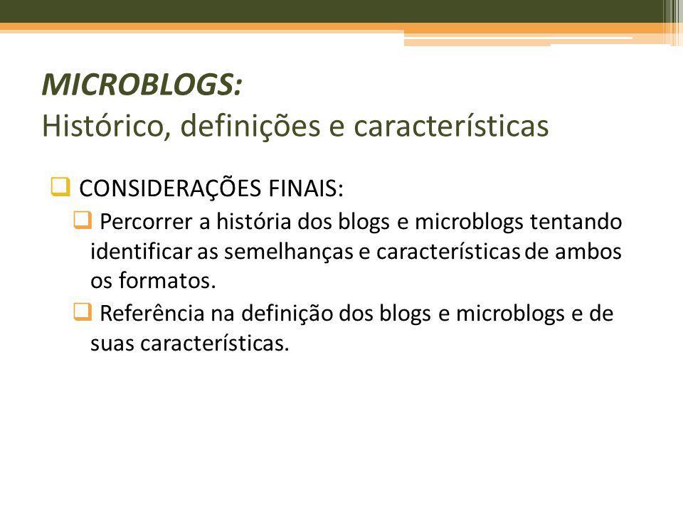 CONSIDERAÇÕES FINAIS: Percorrer a história dos blogs e microblogs tentando identificar as semelhanças e características de ambos os formatos. Referênc