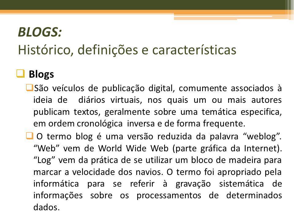 BLOGS: Histórico, definições e características Blogs São veículos de publicação digital, comumente associados à ideia de diários virtuais, nos quais u