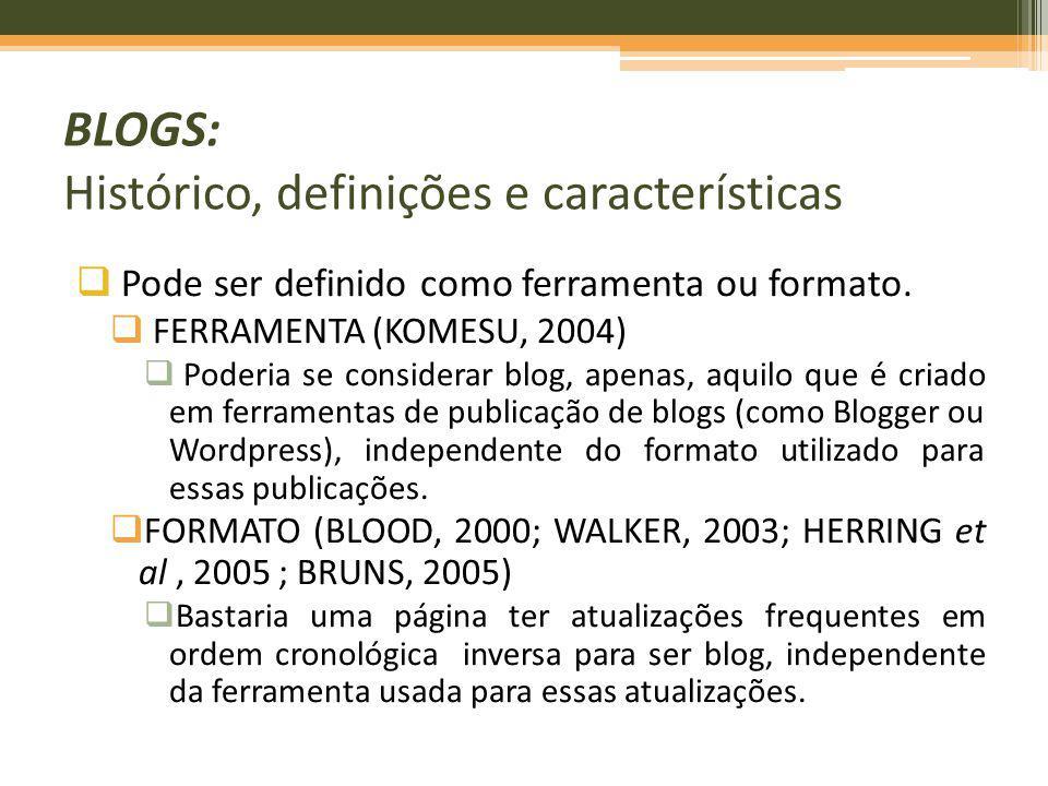 BLOGS: Histórico, definições e características Pode ser definido como ferramenta ou formato. FERRAMENTA (KOMESU, 2004) Poderia se considerar blog, ape