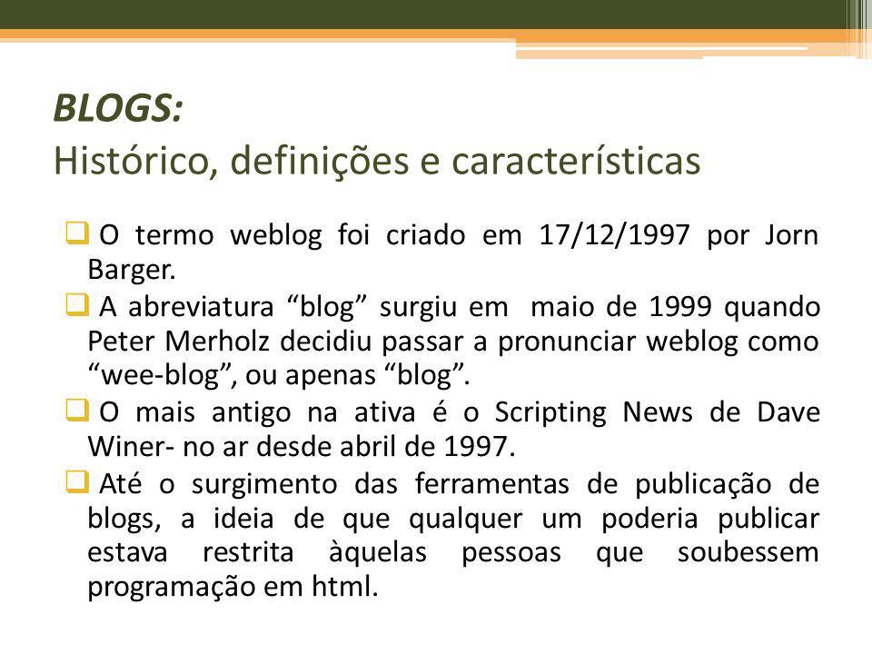 O termo weblog foi criado em 17/12/1997 por Jorn Barger. A abreviatura blog surgiu em maio de 1999 quando Peter Merholz decidiu passar a pronunciar we