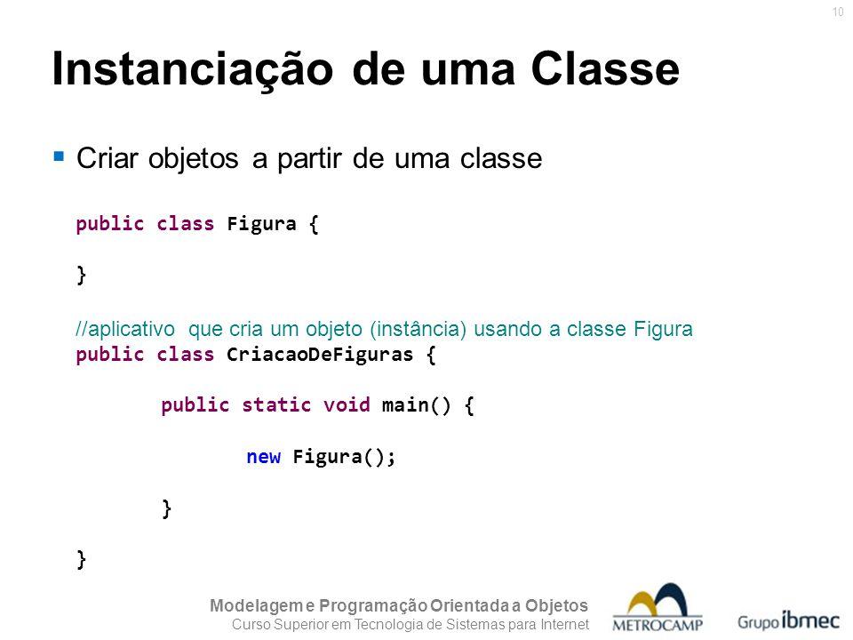 Modelagem e Programação Orientada a Objetos Curso Superior em Tecnologia de Sistemas para Internet 10 Instanciação de uma Classe public class Figura {