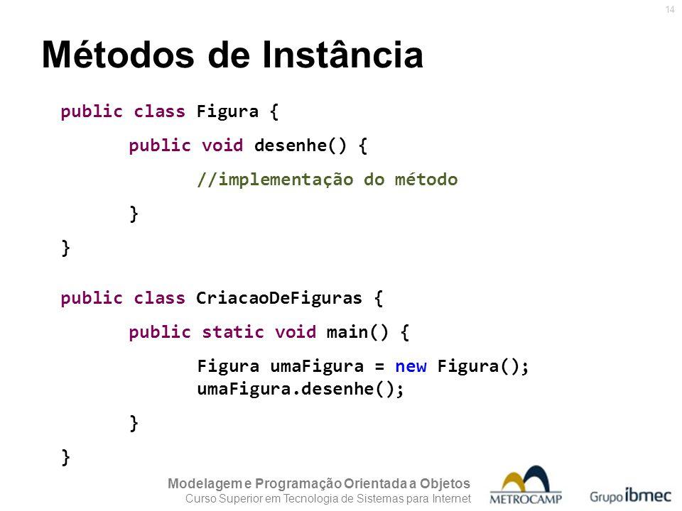 Modelagem e Programação Orientada a Objetos Curso Superior em Tecnologia de Sistemas para Internet 14 Métodos de Instância public class Figura { publi