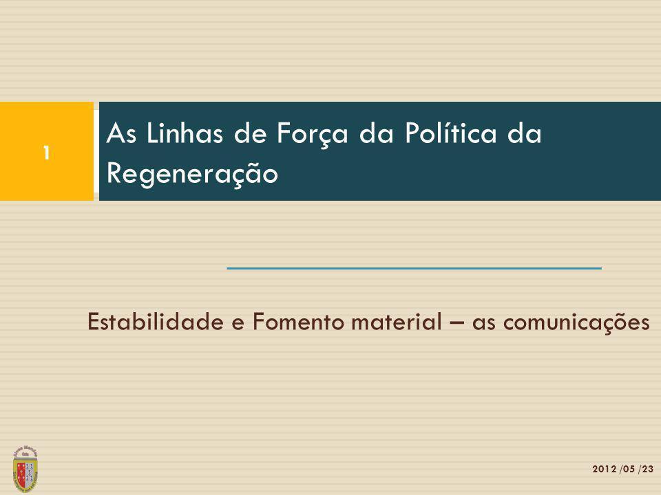 Estabilidade e Fomento material – as comunicações As Linhas de Força da Política da Regeneração 1 2012 /05 /23