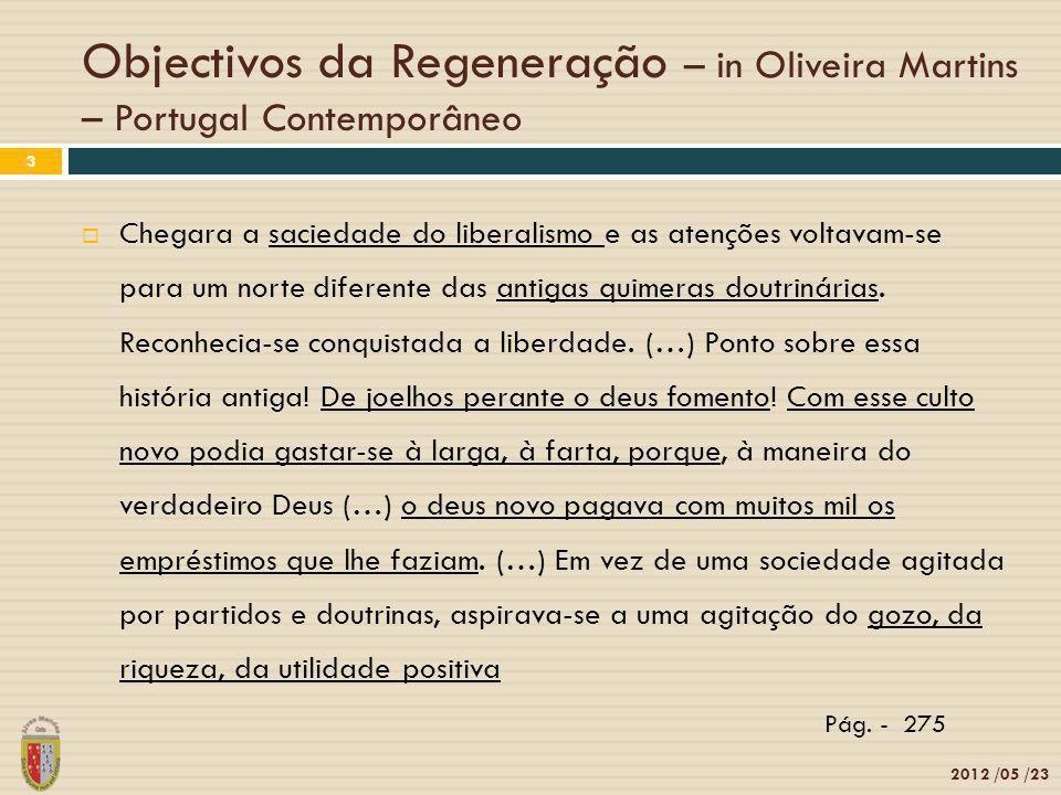 Objectivos da Regeneração – in Oliveira Martins – Portugal Contemporâneo 2012 /05 /23 3 Chegara a saciedade do liberalismo e as atenções voltavam-se p