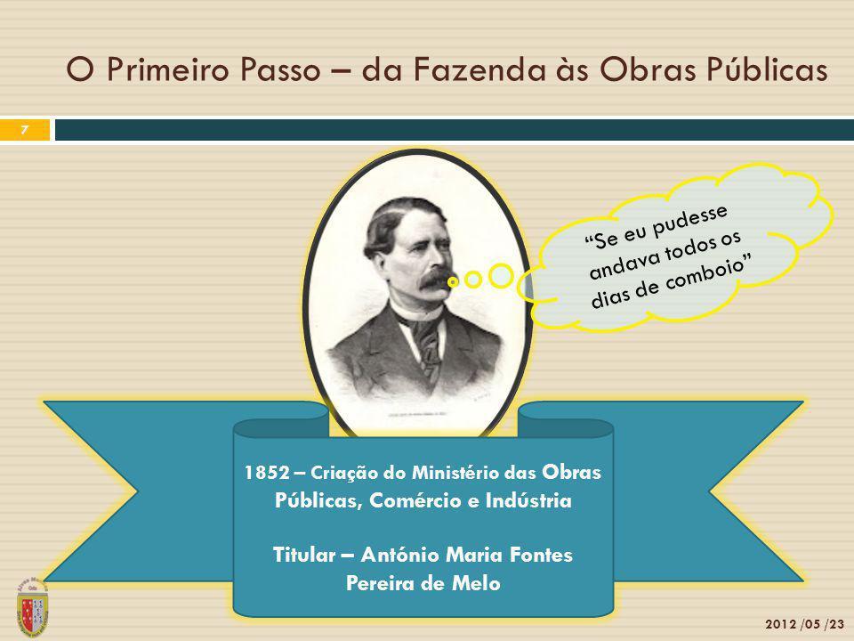 O Primeiro Passo – da Fazenda às Obras Públicas 2012 /05 /23 7 1852 – Criação do Ministério das Obras Públicas, Comércio e Indústria Titular – António