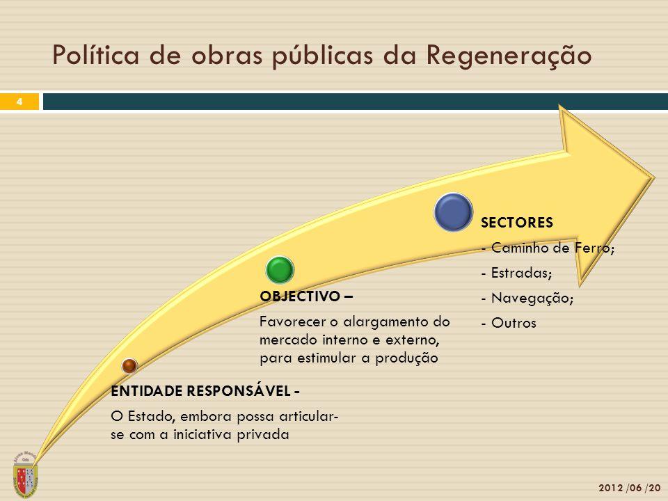 Política de obras públicas da Regeneração 2012 /06 /20 4 ENTIDADE RESPONSÁVEL - O Estado, embora possa articular- se com a iniciativa privada OBJECTIVO – Favorecer o alargamento do mercado interno e externo, para estimular a produção SECTORES - Caminho de Ferro; - Estradas; - Navegação; - Outros