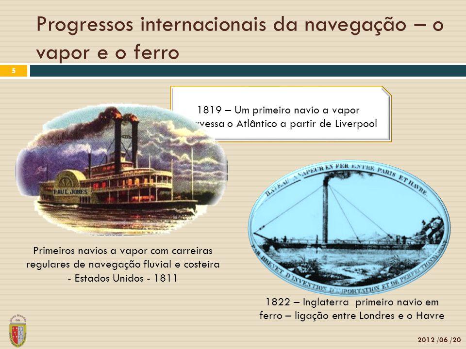 Tradição e inovação 2012 /06 /20 6 Propulsão a vapor ou com velas - uso da roda lateral 1852 – propulsão a vapor ou com velas - uso de hélice
