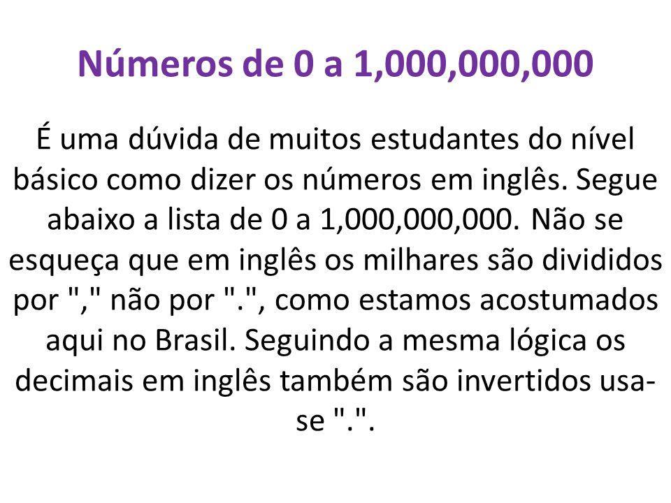 Números de 0 a 1,000,000,000 É uma dúvida de muitos estudantes do nível básico como dizer os números em inglês. Segue abaixo a lista de 0 a 1,000,000,