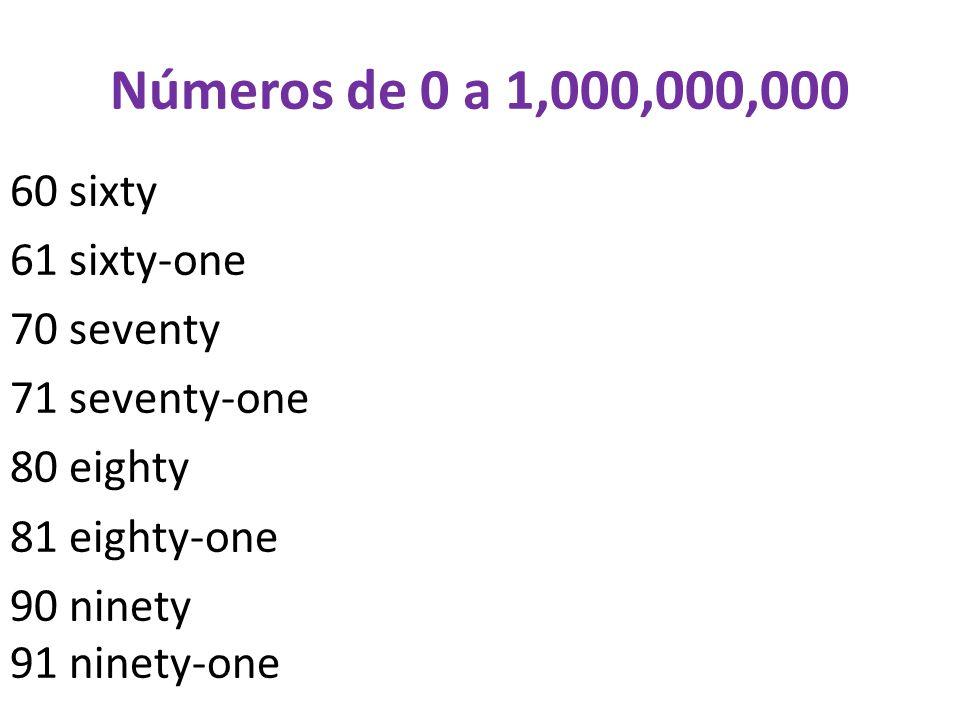 Números de 0 a 1,000,000,000 100 a/one hundred 1,000 a/one thousand 10,000 ten thousand 100,000 a/one hundred thousand 1,000,000 a/one million 1,000,000,000 a/one billion