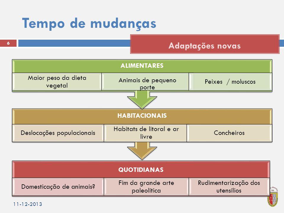 Tempo de mudanças 11-12-2013 6 Adaptações novas QUOTIDIANAS Domesticação de animais.