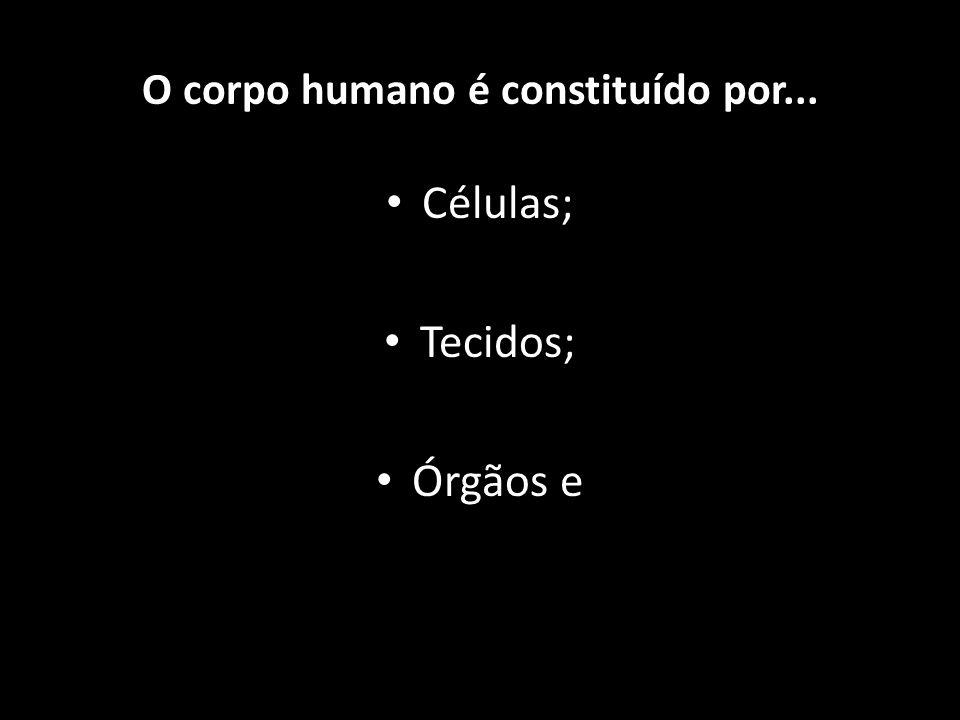 Células; Tecidos; Órgãos e Sistemas. O corpo humano é constituído por...
