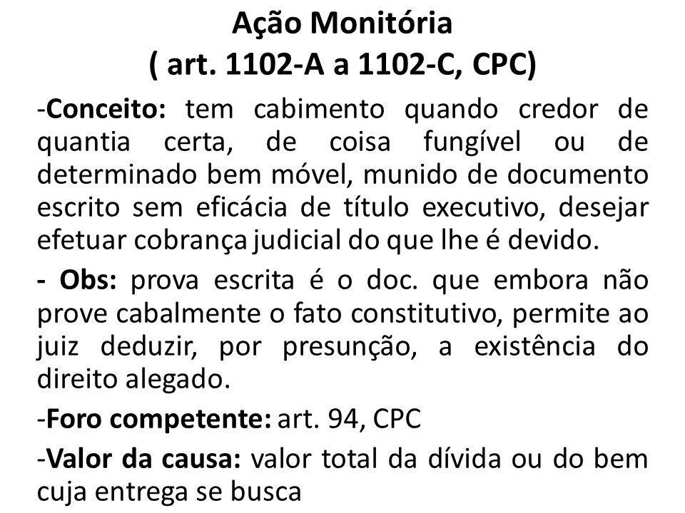 Ação Monitória ( art. 1102-A a 1102-C, CPC) -Conceito: tem cabimento quando credor de quantia certa, de coisa fungível ou de determinado bem móvel, mu