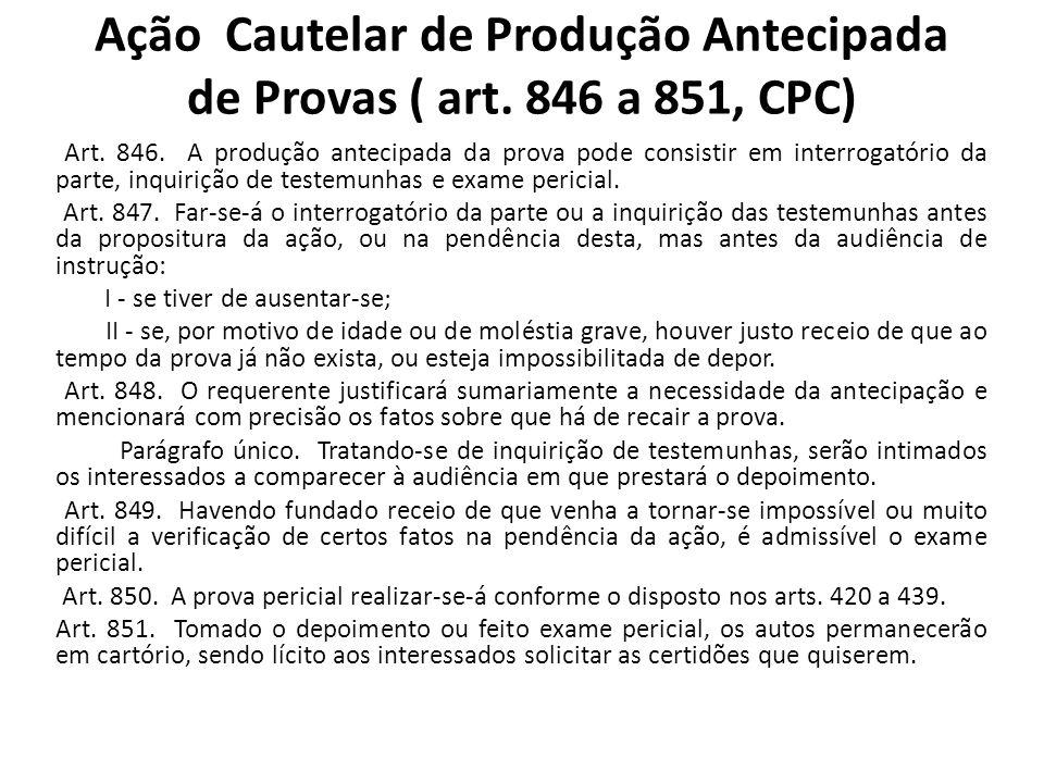 Ação Cautelar de Produção Antecipada de Provas ( art.