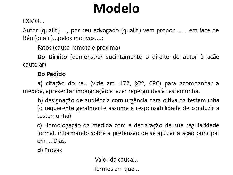 Modelo EXMO...Autor (qualif.)..., por seu advogado (qualif.) vem propor........
