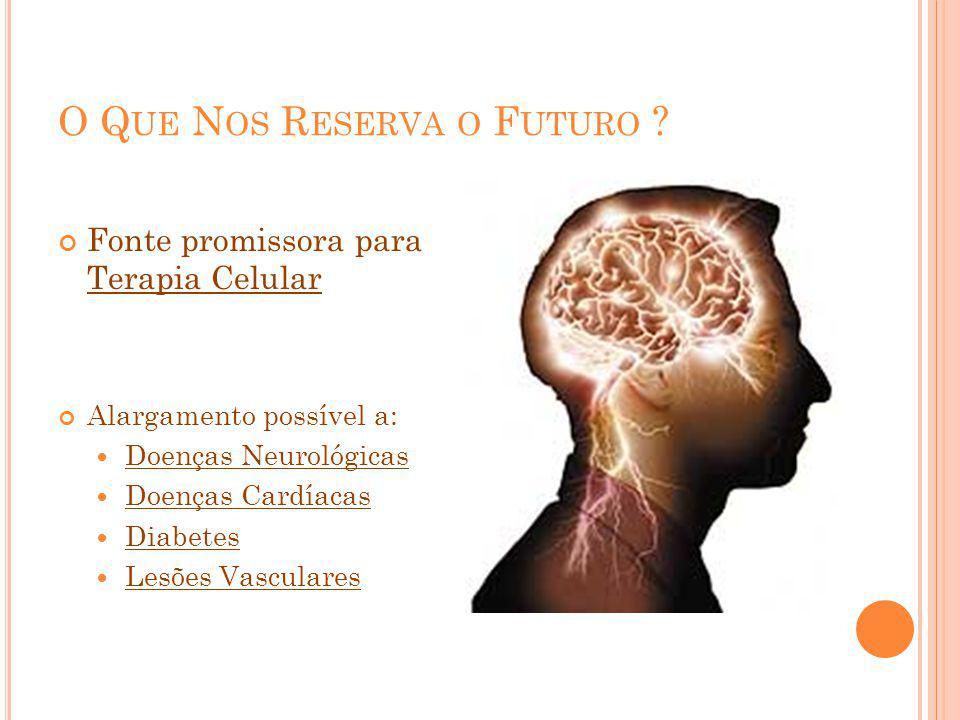 O Q UE N OS R ESERVA O F UTURO ? Fonte promissora para Terapia Celular Alargamento possível a: Doenças Neurológicas Doenças Cardíacas Diabetes Lesões