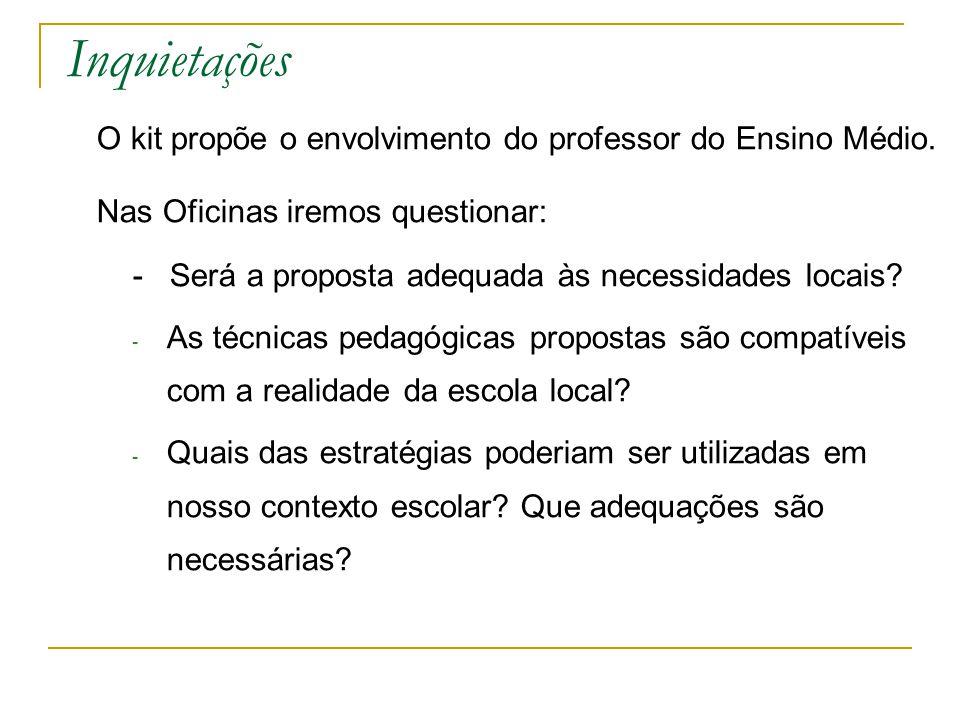 Inquietações O kit propõe o envolvimento do professor do Ensino Médio. Nas Oficinas iremos questionar: - Será a proposta adequada às necessidades loca