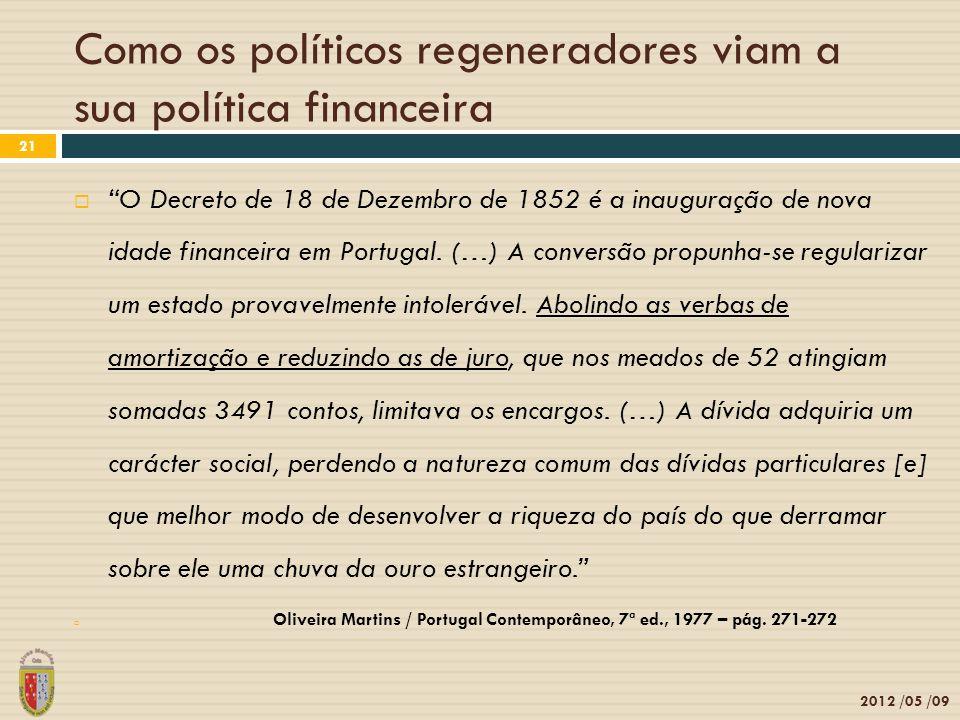 2012 /05 /09 21 O Decreto de 18 de Dezembro de 1852 é a inauguração de nova idade financeira em Portugal. (…) A conversão propunha-se regularizar um e