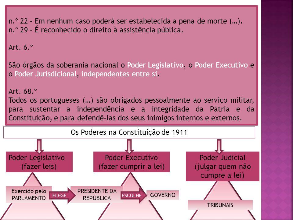 n.º 22 – Em nenhum caso poderá ser estabelecida a pena de morte (…). n.º 29 – É reconhecido o direito à assistência pública. Art. 6.º São órgãos da so