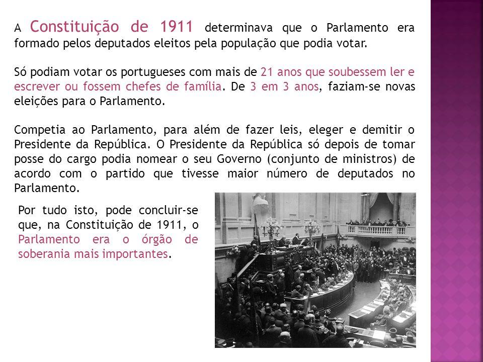 A Constituição de 1911 determinava que o Parlamento era formado pelos deputados eleitos pela população que podia votar. Só podiam votar os portugueses