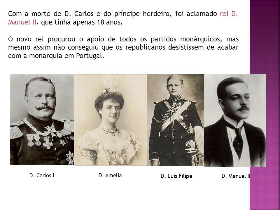 Com a morte de D. Carlos e do príncipe herdeiro, foi aclamado rei D. Manuel II, que tinha apenas 18 anos. O novo rei procurou o apoio de todos os part