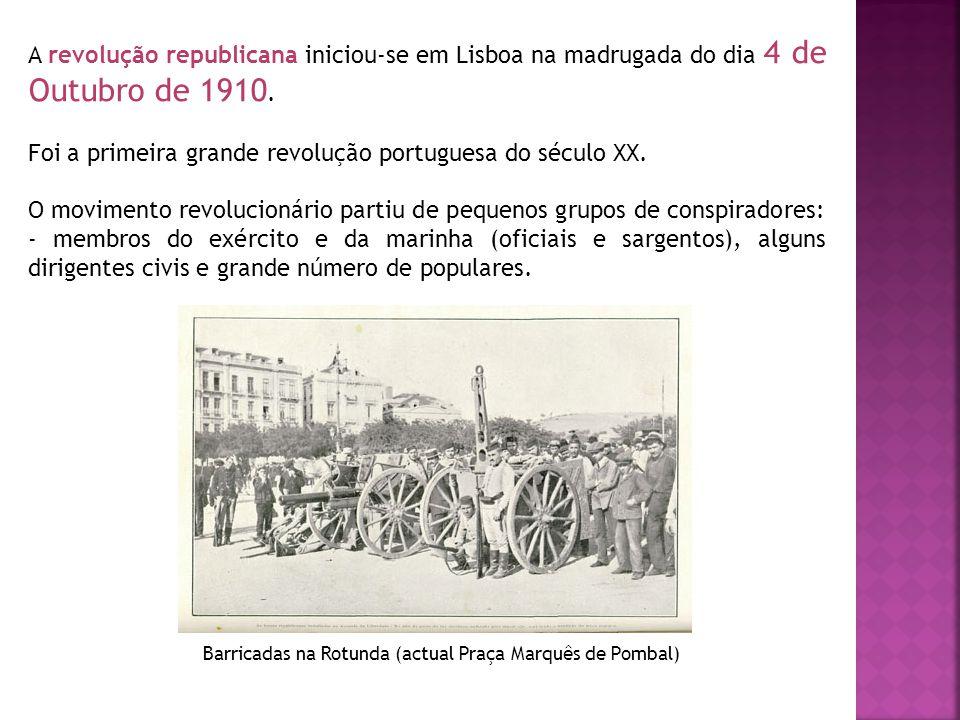 A revolução republicana iniciou-se em Lisboa na madrugada do dia 4 de Outubro de 1910. Foi a primeira grande revolução portuguesa do século XX. O movi