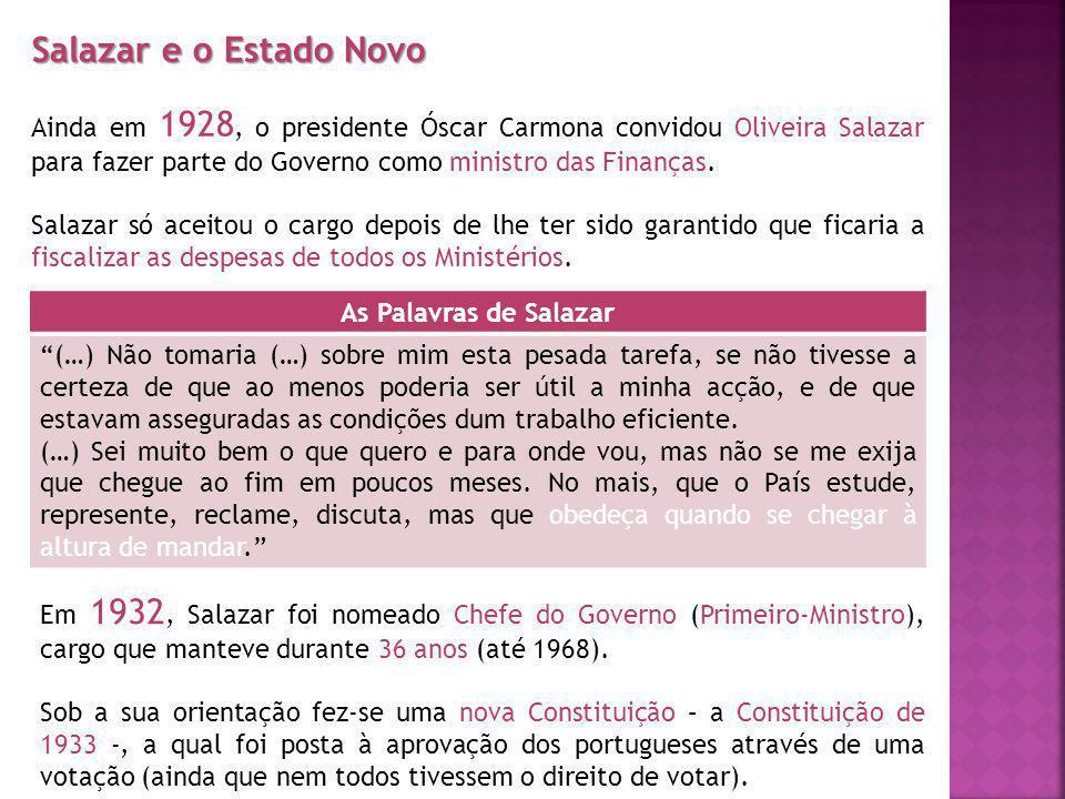 Salazar e o Estado Novo Ainda em 1928, o presidente Óscar Carmona convidou Oliveira Salazar para fazer parte do Governo como ministro das Finanças.