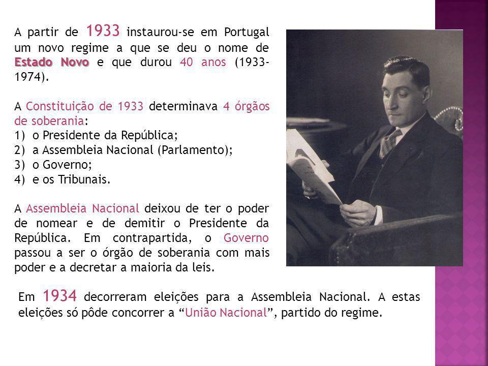Estado Novo A partir de 1933 instaurou-se em Portugal um novo regime a que se deu o nome de Estado Novo e que durou 40 anos (1933- 1974). A Constituiç