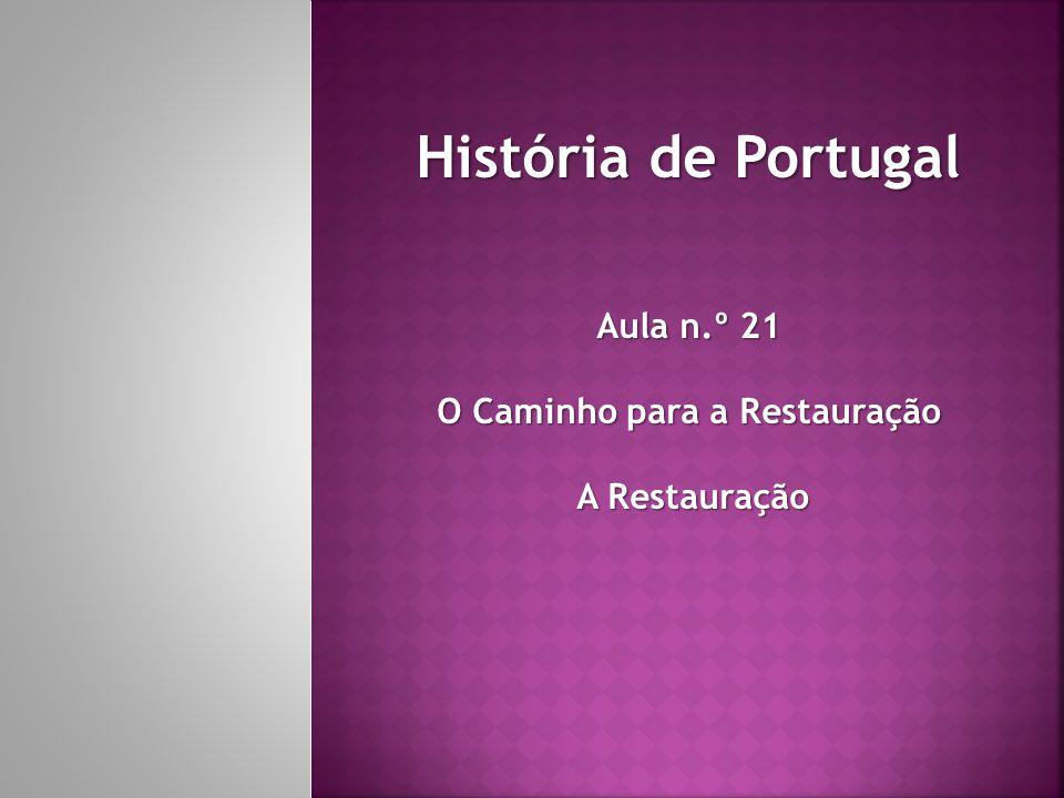 História de Portugal Aula n.º 21 O Caminho para a Restauração A Restauração A Restauração