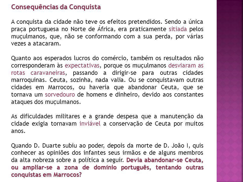 Consequências da Conquista A conquista da cidade não teve os efeitos pretendidos. Sendo a única praça portuguesa no Norte de África, era praticamente