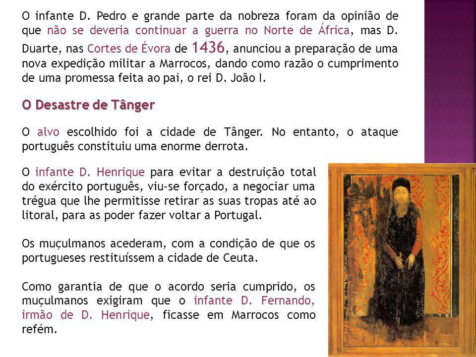 O infante D. Pedro e grande parte da nobreza foram da opinião de que não se deveria continuar a guerra no Norte de África, mas D. Duarte, nas Cortes d