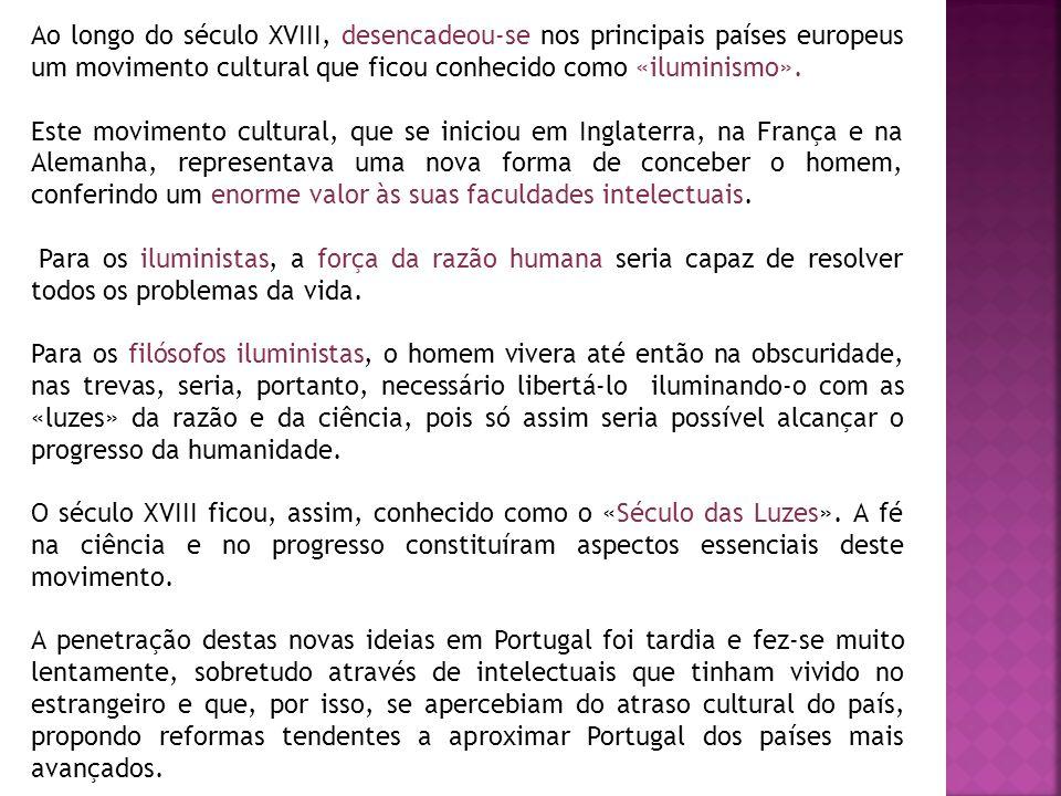 Os Estrangeirados Os portugueses que viviam fora do país e que haviam viajado pela Europa tiveram muita influência na penetração das «Luzes», ou Iluminismo, em Portugal.
