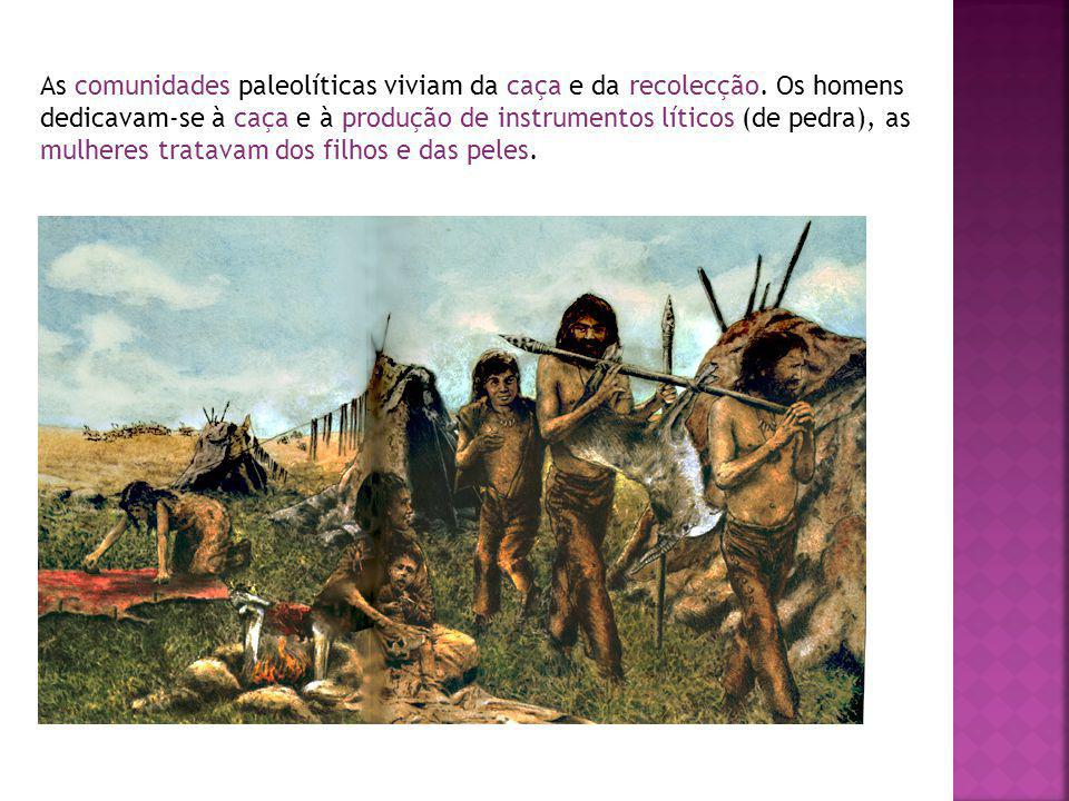 As comunidades paleolíticas viviam da caça e da recolecção. Os homens dedicavam-se à caça e à produção de instrumentos líticos (de pedra), as mulheres