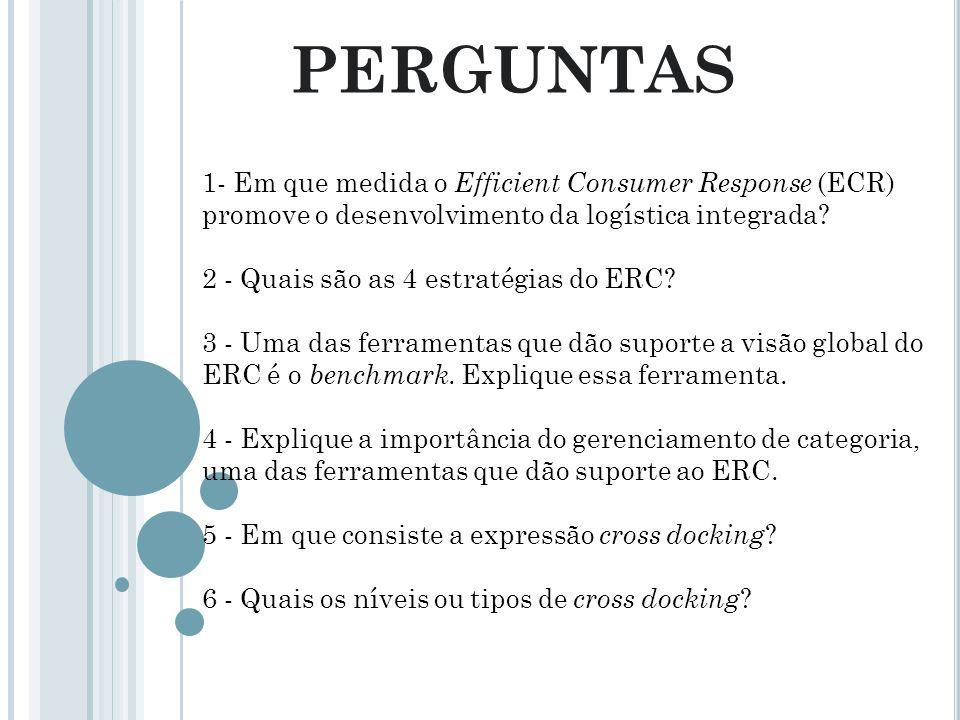 PERGUNTAS 1- Em que medida o Efficient Consumer Response (ECR) promove o desenvolvimento da logística integrada? 2 - Quais são as 4 estratégias do ERC