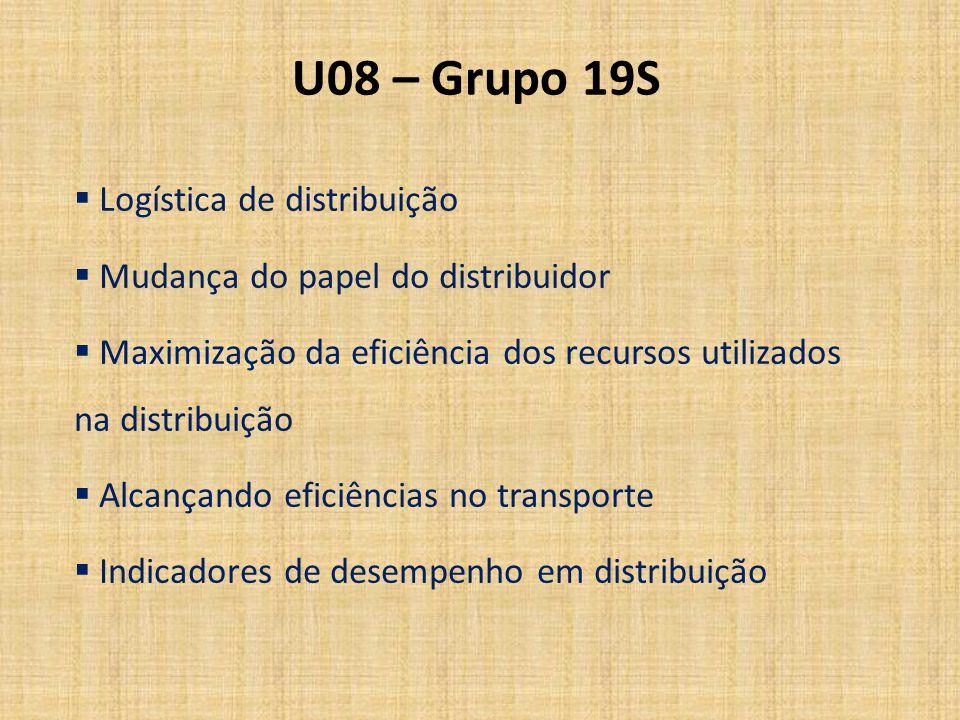 U08 – Grupo 19S Logística de distribuição Mudança do papel do distribuidor Maximização da eficiência dos recursos utilizados na distribuição Alcançand