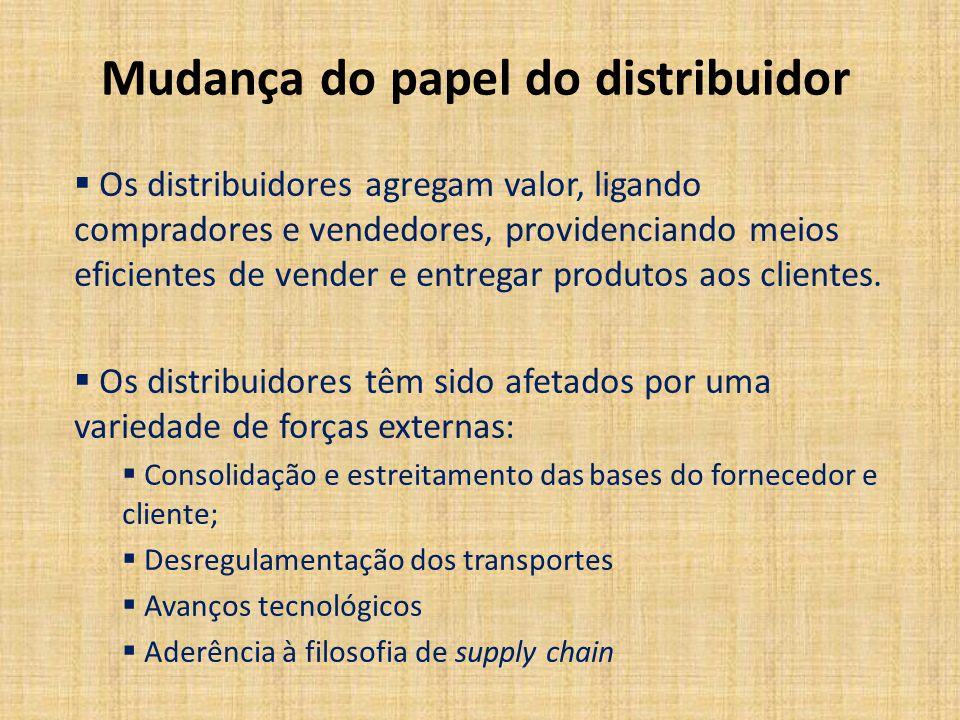 Mudança do papel do distribuidor Os distribuidores agregam valor, ligando compradores e vendedores, providenciando meios eficientes de vender e entreg