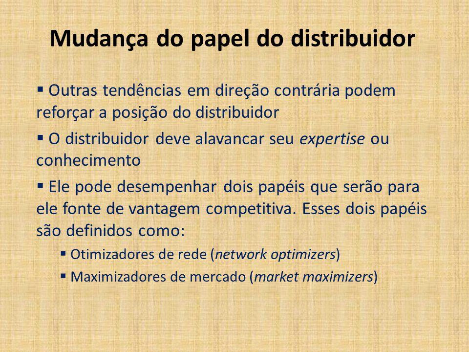 Mudança do papel do distribuidor Outras tendências em direção contrária podem reforçar a posição do distribuidor O distribuidor deve alavancar seu exp