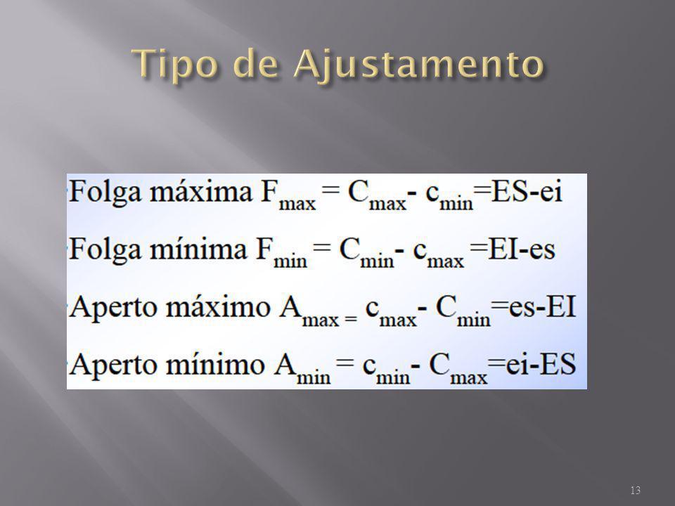 A cota mínima do furo (Cmin) émaior que a cota máxima do veio (cmax) 14