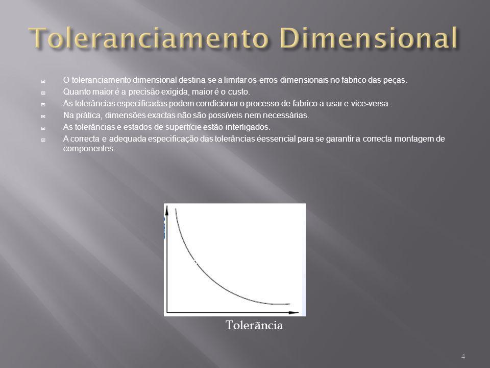 O toleranciamento dimensional destina-se a limitar os erros dimensionais no fabrico das peças. Quanto maior é a precisão exigida, maior é o custo. As