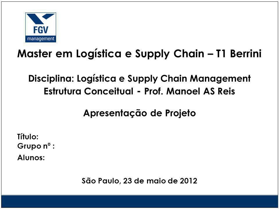 Master em Logística e Supply Chain – T1 Berrini Disciplina: Logística e Supply Chain Management Estrutura Conceitual - Prof.