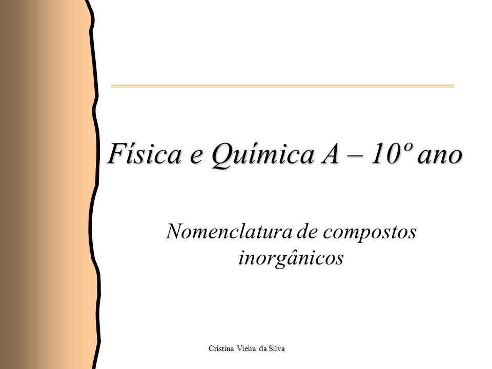 Física e Química A – 10º ano Nomenclatura de compostos inorgânicos Cristina Vieira da Silva