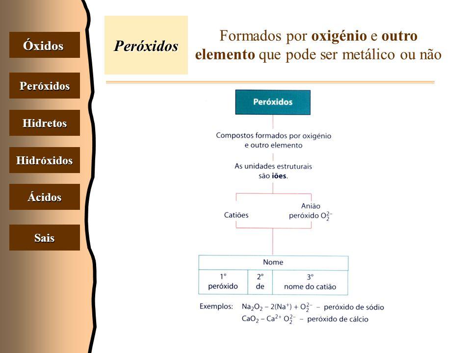 Peróxidos Óxidos Peróxidos Hidretos Hidróxidos Ácidos Sais Formados por oxigénio e outro elemento que pode ser metálico ou não