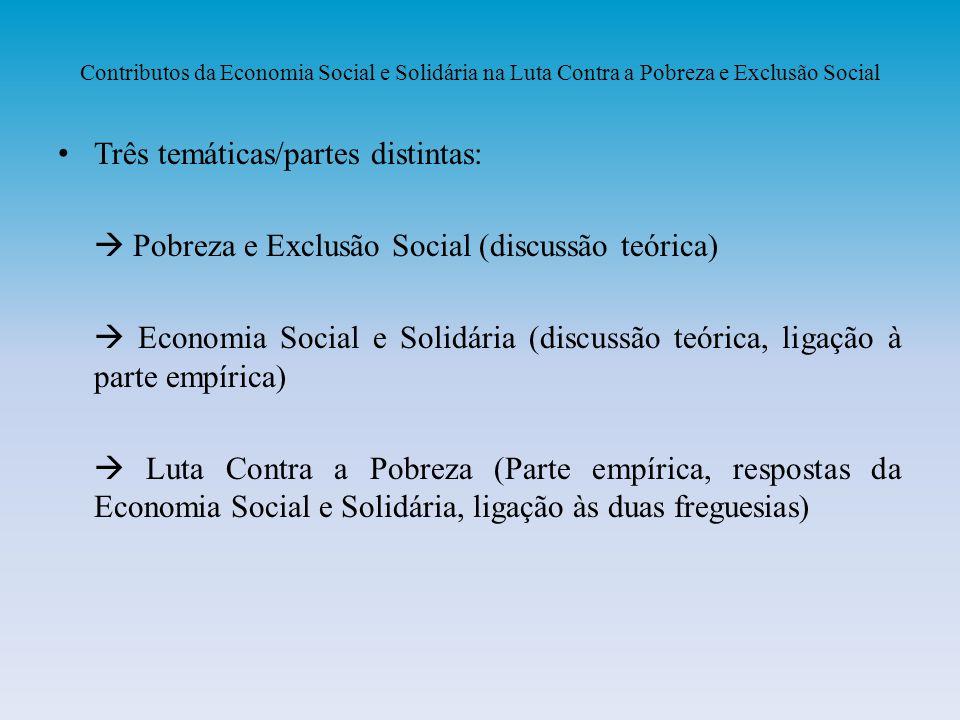 Três temáticas/partes distintas: Pobreza e Exclusão Social (discussão teórica) Economia Social e Solidária (discussão teórica, ligação à parte empíric