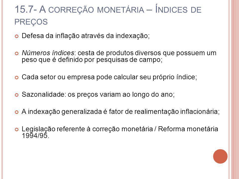 15.7- A CORREÇÃO MONETÁRIA – Í NDICES DE PREÇOS Defesa da inflação através da indexação; Números índices: cesta de produtos diversos que possuem um pe