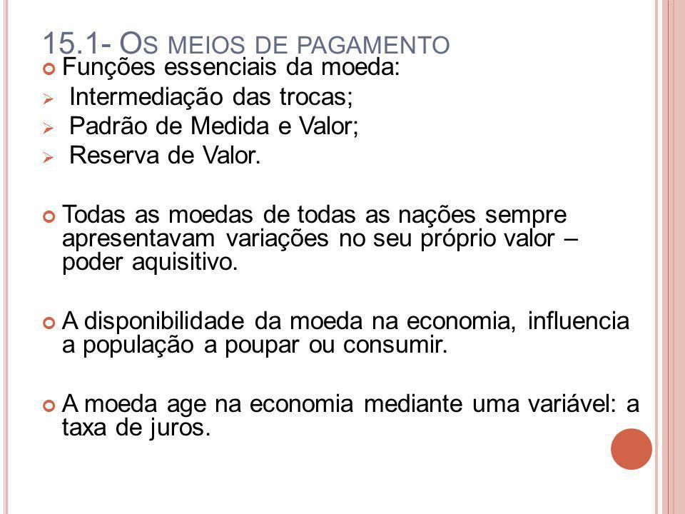 15.1- O S MEIOS DE PAGAMENTO Funções essenciais da moeda: Intermediação das trocas; Padrão de Medida e Valor; Reserva de Valor. Todas as moedas de tod